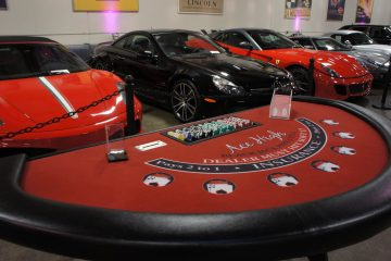 Ace High Blackjack casino table rental at Marconi Auto Museum