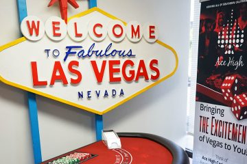 Ace High Ribbon Cutting - Welcome to Las Vegas sign