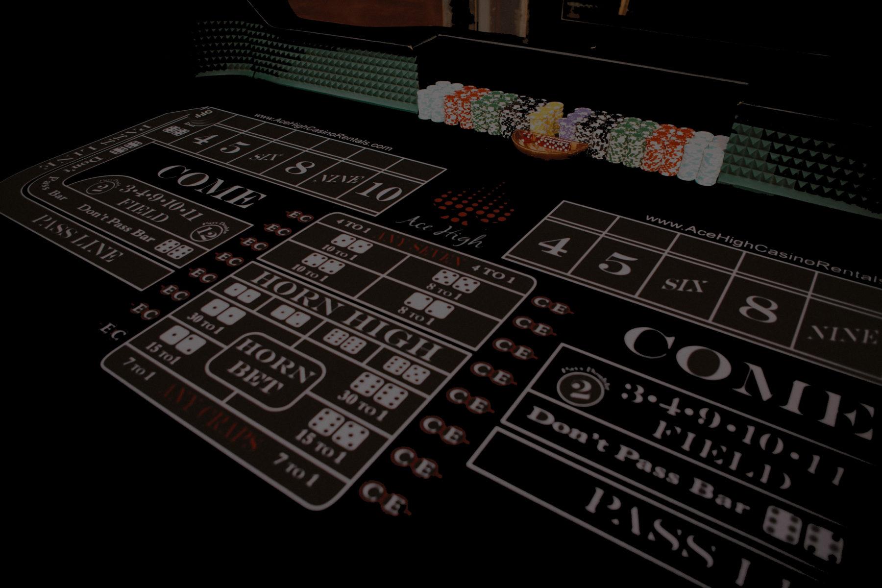 Ace High casino craps table rentals